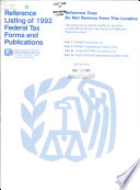 Reference Listing of Federal Tax Forms and Publications