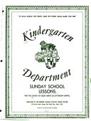 Kindergarten Department Sunday School Lessons