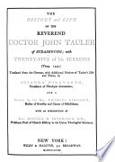 The History and Life of the Reverend Doctor John Tauler of Strasbourg Book