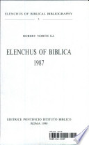 Elenchus Of Biblica 1987