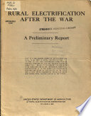 Rural electrification after the war - a preliminary report