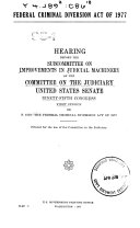 Federal Criminal Diversion Act of 1977