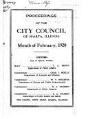 Proceedings Of The City Council Of Sparta Illinois