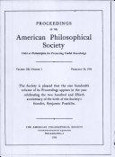 Proceedings, American Philosophical Society (vol. 100, no. 1)