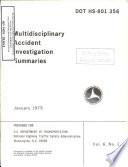 Multidisciplinary Accident Investigation Summaries  Volume 6  No  1