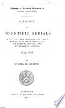 Catalogue Of Scientific Serials Of All Countries