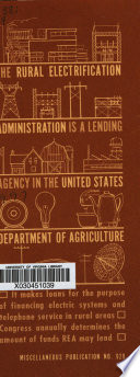 The Rural Electrification Administration Is A Lending Agency In The United States Department Of Agriculture Book PDF