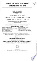Energy and Water Development Appropriations for 2003  Dept  of the Army     Chief of Engineers