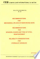 Recommendations for mechanical splices of reinforcing bars for spacers chairs and tying of steel reinforcement reliability considerations for hydraulic variables Book PDF