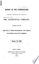 Report of the Commissioners Appointed to Investigate the Condition of the Manhattan Company