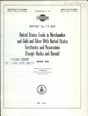 United States Trade in Merchandise and Gold and Silver with United States Territories and Possessions