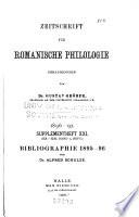 Zeitschrift für romanische Philologie  : Supplementheft