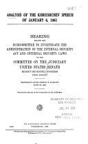Analysis of the Khrushchev Speech of January 6  1961