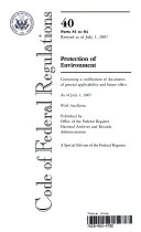 Code of Federal Regulations  Title 40  Protection of Environment  Pt  81 84  Revised as of July 1  2007