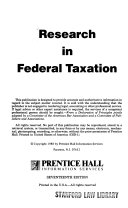 Research in Federal Taxation