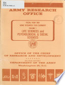 Army Research Task Summary  Life sciences and psychological   social sciences