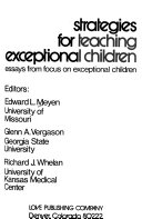 Strategies for Teaching Exceptional Children: Essays from Focus on Exceptional Children