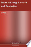 Issues in Energy Research and Application  2012 Edition