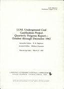 LLNL Underground Coal Gasification Project Quarterly Progress Report