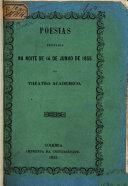 Poesias recitadas na noite de 14 de junho de 1855 no theatro academico na despedida dos senhores T.A. Ribeiro, J.G. Arouca, L.A. Nogueira e F. Soares Franco junior