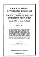 Pdf Poor's Classified Investment Holdings, and Poor's Complete List of Securities Maturing ...
