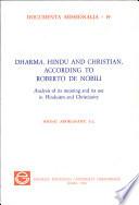 Dharma, Hindu and Christian According to Roberto de Nobili