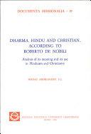 Dharma  Hindu and Christian According to Roberto de Nobili