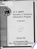 U S Army Scientific And Technical Information Program Fy 1966 1972 December 1966