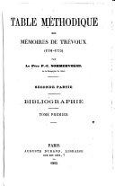Bibliographie. Tome Premier