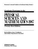 Graduate Programs in the Physical Sciences and Mathematics Book