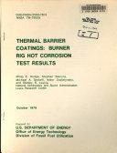 Thermal Barrier Coatings  Burner Rig Hot Corrosion Test Results Book