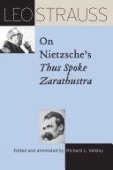 Leo Strauss on Nietzsche's Thus Spoke Zarathustra Pdf