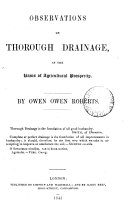 Observations on thorough drainage, as the basis of agricultural prosperity