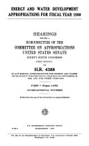 Energy and Water Development Appropriations for