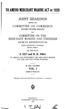 To Amend Merchant Marine Act of 1920      Joint Hearings      on S 3217 and H R  10644