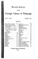 Monthly Bulletin of the Pittsburgh Carnegie Library
