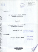 Report to the AEC Nuclear Cross Sections Advisory Committee Meeting at Lawrence Radiation Laboratory  Livermore  California  December 1 3  1970