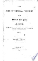 Code of Criminal Procedure and Penal Code of the State of New York