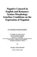 Negative Concord In English And Romance