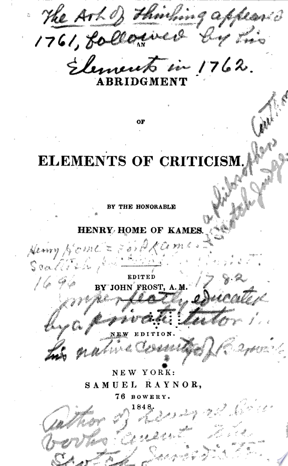 An abridgment of Elements of critic