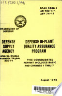 Defense In plant Quality Assurance Program Book