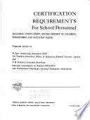 A Manual on Certification Requirements for School Personnel in the United States