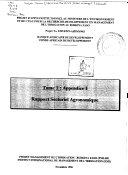 Tome 1: Appendice I - Rapport sectoriel agronomique