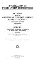 Investigation of Public Utility Corporations