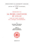Abḥāth fī al-fikr al-Masīḥī wa-al-Islām fī al-azminah al-ḥadīthah wa-al-tārīkh al-muʿāṣir