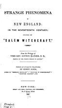Strange Phenomena of New England  in the Seventeenth Century
