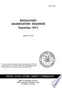 Regulatory Adjudication Issuances