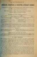 Tr Bner S American European And Oriental Literary Record