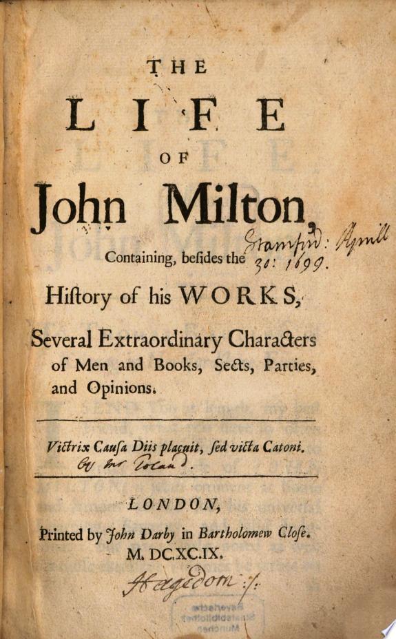 The life of John Milton  signed I T