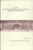 Studies in Seventeenth-century English Literature, History and Bibliography [Pdf/ePub] eBook
